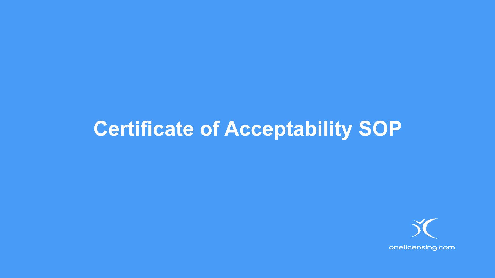 Certificate of Acceptability SOP